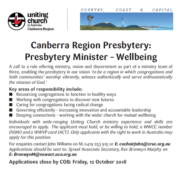 Presbytery Minister - Wellbeing, Canberra