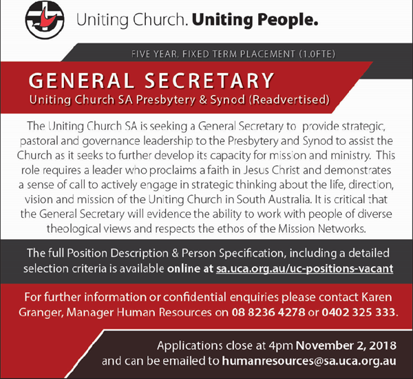 General Secretary - Uniting Church South Australia